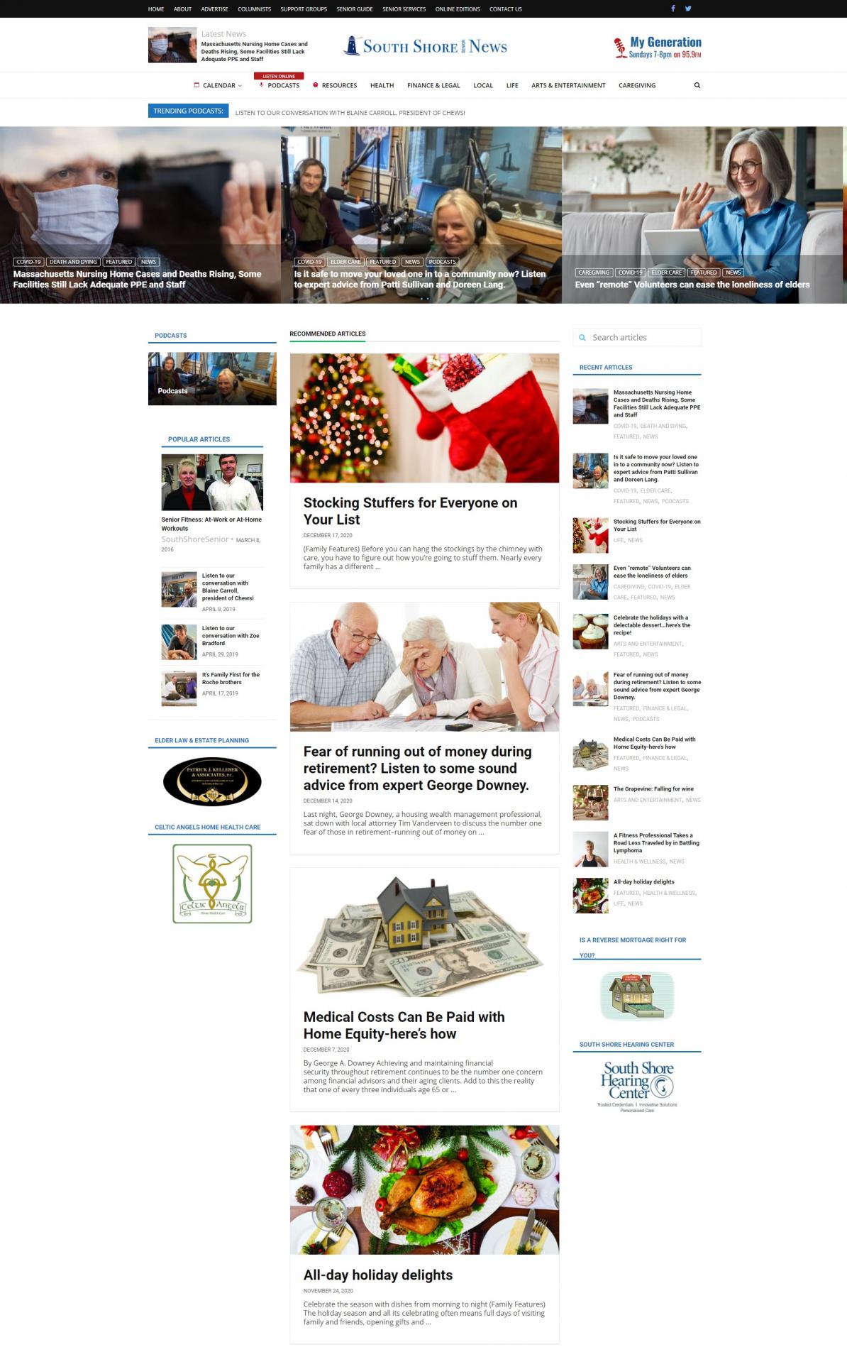 South-Shore-Senior-News website screenshot