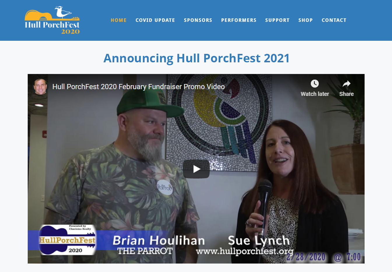 Hull PorchFest Website Screenshot