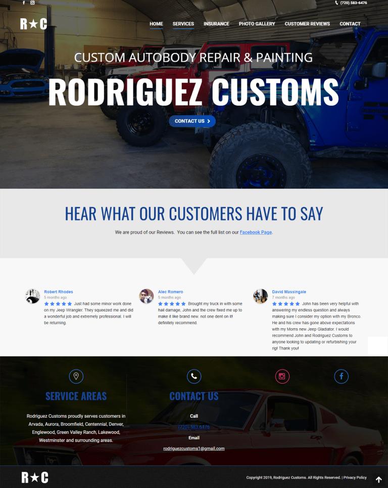 Rodriguez Customs Website Screenshot
