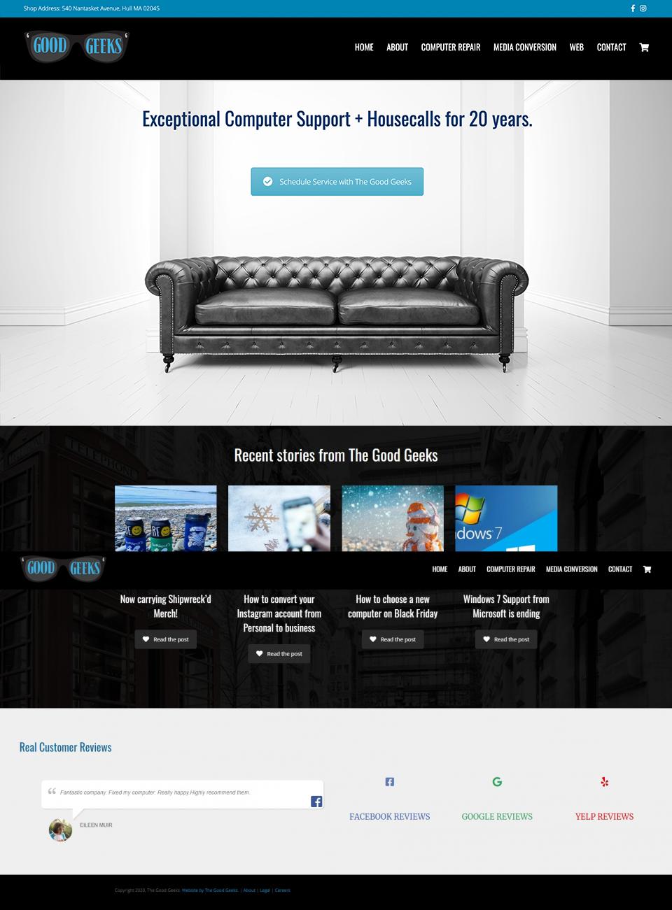 screenshot of good geeks computer repair website